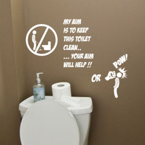 Toilet Bathroom Funny Wall Quote Stickers Wall Decals Bathroom ...