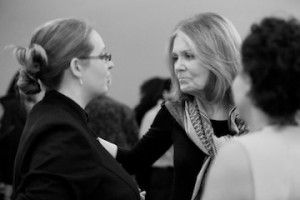 Gloria Steinem answering questions from our guests