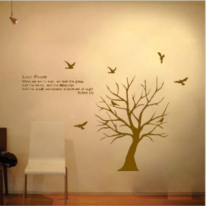 Free Shipping Tree Bird Love Poem Bedroom Living Room Decor Mural Art ...