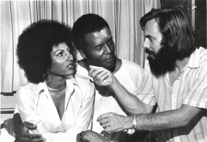 ... pam grier terry carter and jack hill on set of foxy brown 1974