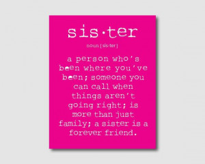 Family Wall Art - A sister is a person... Sister Quote - Typography ...