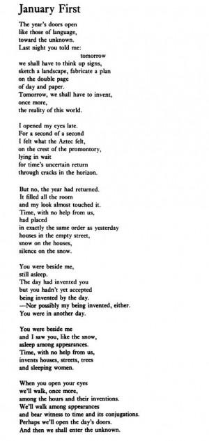 "Octavio Paz, ""January First"""