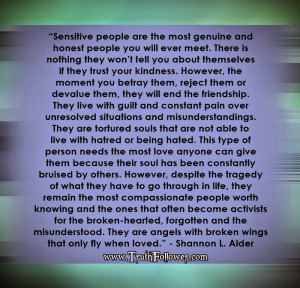 sensitive people are the most genuine and honest people you will ever ...