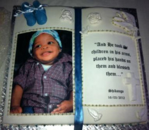 Bible themed cake for christening