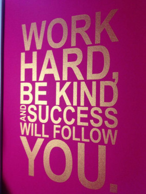 Gold motivational quote print Work hard be kind and by MiraDoson, $16 ...