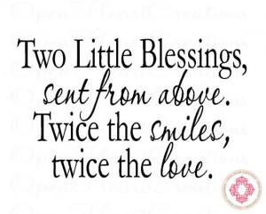 Two Little Blessings Sent From Above - Twin Nursery Wall Decal ...