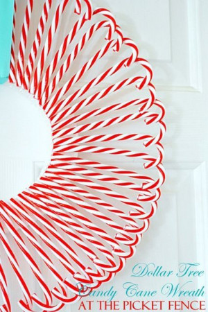 Make this cute Candy Cane Wreath from Dollar Tree candy canes and ...