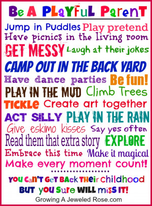 Be a Playful Parent - free printable