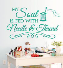 Sewing Craft Room Soul NeedleThread... Saying Vinyl Wall Decals Quote ...