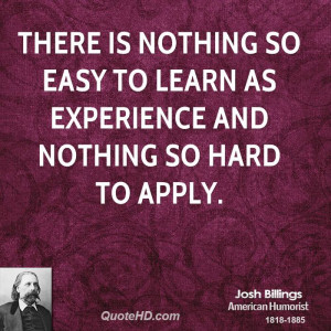 Josh Billings Experience Quotes