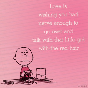 Love is - Charlie Brown on the Girl with the red hair. Snoopy ...