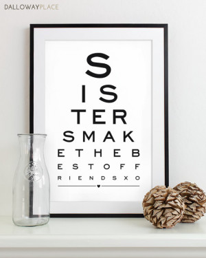 Maid of Honor Gift For Sister Art Print Eye Chart - quote art ...
