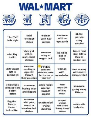 Wal Mart Bingo Card - Very Funny!