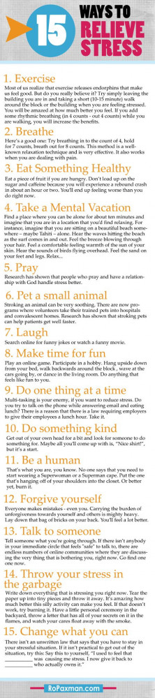 15 Ways to Relieve Stress -- if there is no cure, sometimes doing a ...