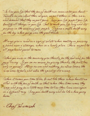 poem attributed to Chief Tecumseh, used in the movie