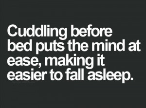 Cuddling before bed