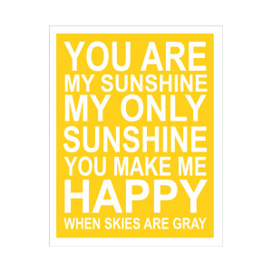 YOU ARE MY SUNSHINE 11X14 INCH POSTER PRINT from Finny and Zook