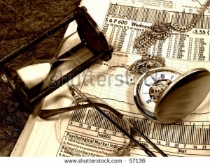 Photo of Hourglass, Watch, Eyeglasses and Stock Quotes With Sepia Toe ...