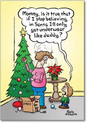 Underwear Believe In Santa Humorous Pic Christmas Paper Card ...