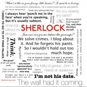 Sherlock Holmes quotes -- I want this on my wall!!!!