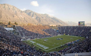 Football stadium at BYU with the Wasatch Mountains in the background ...