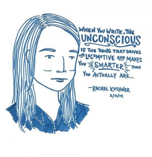 love this sketch of rachel kushner via lastnightsreading