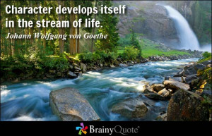 ... develops itself in the stream of life. - Johann Wolfgang von Goethe