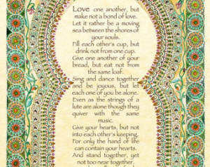 Marriage by Kahlil Gibran - R omantic Gift - Romantic Art - Wedding ...