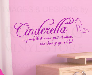 Wall-Decal-Vinyl-Quote-Sticker-Cinderella-Shoes-Can-Change-Your-Life ...