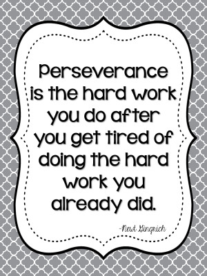 Perseverance is the hard work you do after you get tired of the doing ...