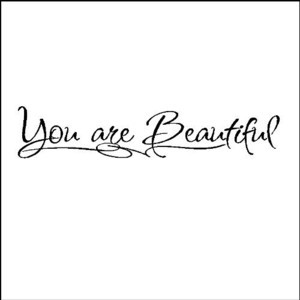 You are beautiful Wall Quotes Sayings Words Lettering Art Decals Item ...