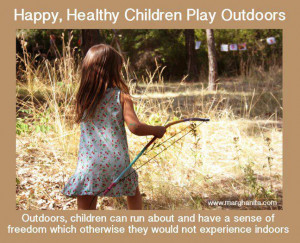 Happy, Healthy Children Play Outdoors