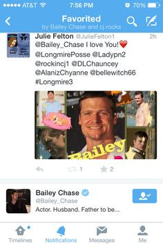 Bailey Chase favorited my collage for him