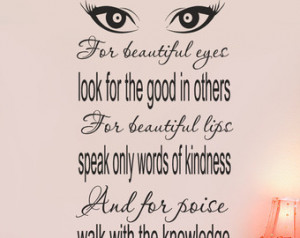 Audrey Hepburn Quote decor Vinyl Wa ll Decal For beautiful eyes look ...