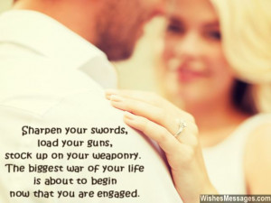 Funny engagement greeting card message to couple who got engaged