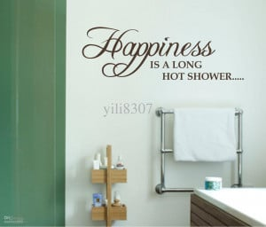 WALL ART QUOTE Sticker happiness long shower bathroom P453