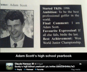 Adam Scott's high school yearbook quote foretold Masters victory