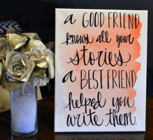 Bridesmaid Gift Watercolor Friendship Quote Canvas Painting Blush Pink ...