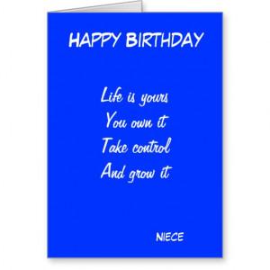Niece's motivational birthday greeting cards