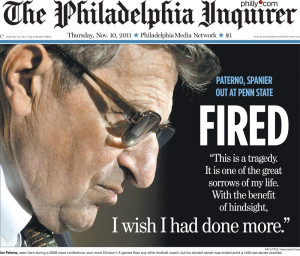 ... Philadelphia Inquirer, illustrating Joe Paterno's fall from grace