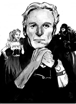 William Goldman, drawn by Bo Hampton, with Westley as the Man in Black ...