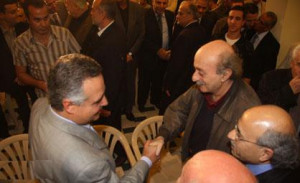 ... leader MP Walid Jumblatt after reconciling in Choueifat on Sunday