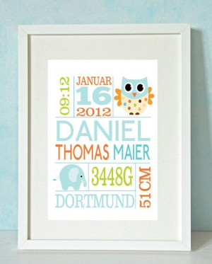 Boys Owl and Elephant Personalized Birth Print by RockMapleSugar, etsy ...