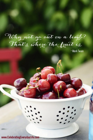 ... fruit is quote, mark twain quote, bowl of cherries, inspiring quote