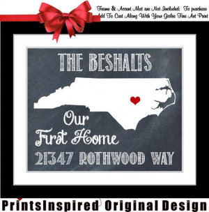 Housewarming Gift Personalized State Map Print: Quote Location New ...