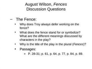 Fences by August Wilson Play