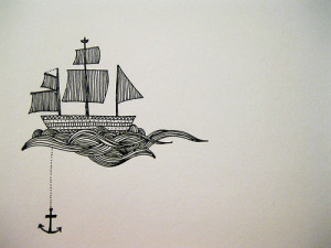 anker, drawing, pretty, ship