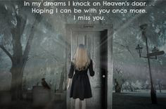 heaven's door hoping I can be with you once more. I miss you... Grief ...