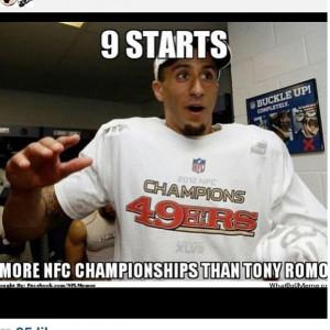 ... Kaepernick's quick success with 49ers to mock Cowboys QB Tony Romo
