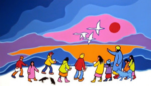 Northern Education, 1989 by Ted Harrison; Reproduced
